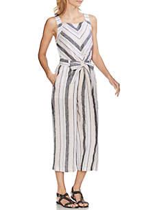 Vince Camuto Stripe Belted Linen Jumpsuit