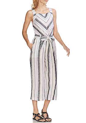 53d98fdec Vince Camuto Stripe Belted Linen Jumpsuit ...