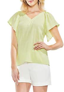 Short Drop Shoulder Sleeve V-Neck Smocked Blouse
