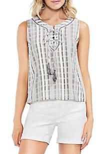 Sleeveless Lace-Up Jacquard Striped Blouse