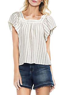 Metallic Stripe Ruffle Sleeve Blouse