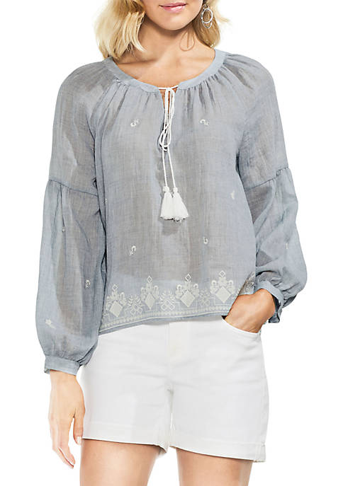 Vince Camuto Long Sleeve Mlnge Gauze Peasant Blouse