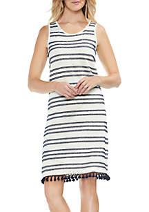 Sleeveless Fringe Stripe Hem Dress