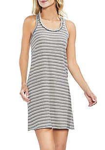 Sleeveless Stripe Rib Tank Dress