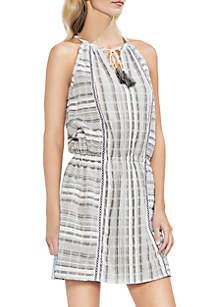 Jacquard Stripe Cinched Waist Dress