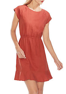 Vince Camuto Extended Shoulder Cinch Waist A Line Linen Dress