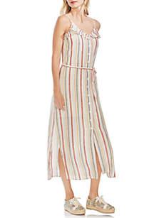 Vince Camuto Sleeveless Canyon Stripe Button Down Ruffle Edge Dress