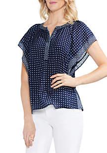 Short Sleeve Drop Shoulder V-Neck Blouse