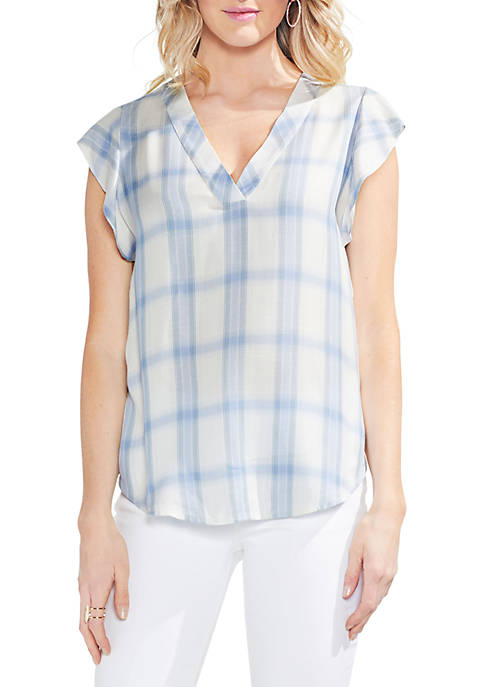 Vince Camuto Cap Sleeve Plaid V-Neck Blouse