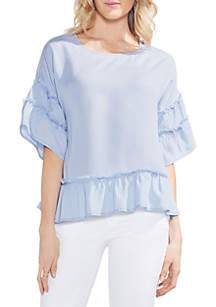 Short Tiered Ruffle Sleeve Blouse