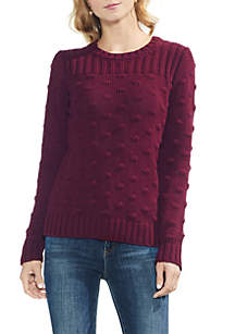 Long Sleeve Ribbed Popcorn Stitch Sweater
