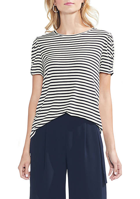 Vince Camuto Short Sleeve Puff Shoulder Chateau Stripe
