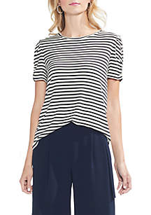 Short Sleeve Puff Shoulder Chateau Stripe Top