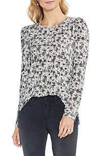 Long Puff Sleeve Ditsy Rose Top