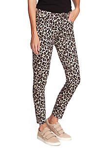 Vince Camuto 5 Pocket Leopard Skinny Jeans