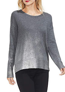 Drop Shoulder Foiled Ombre Sweater