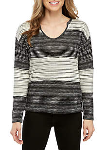 Long Sleeve Color Block Stripe V-Neck Top