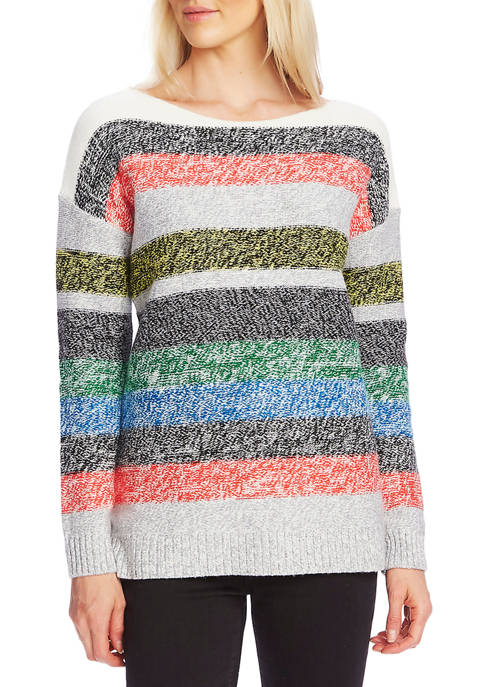Womens Multi Stripe Boat Neck Sweater