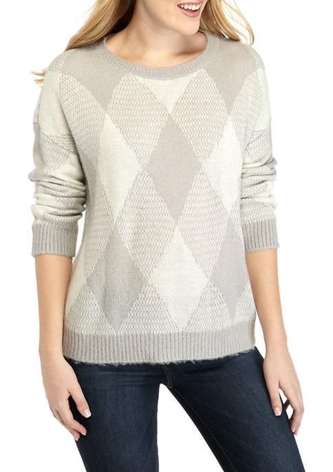 Womens Fuzzy Argyle Sweater