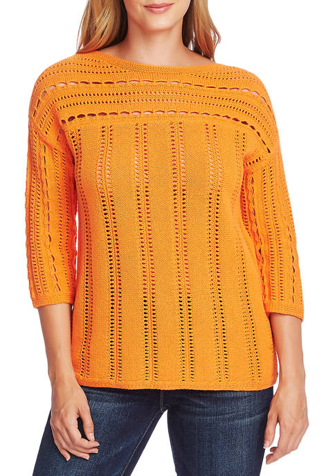 Womens Open Stretch Boat Neck Sweater