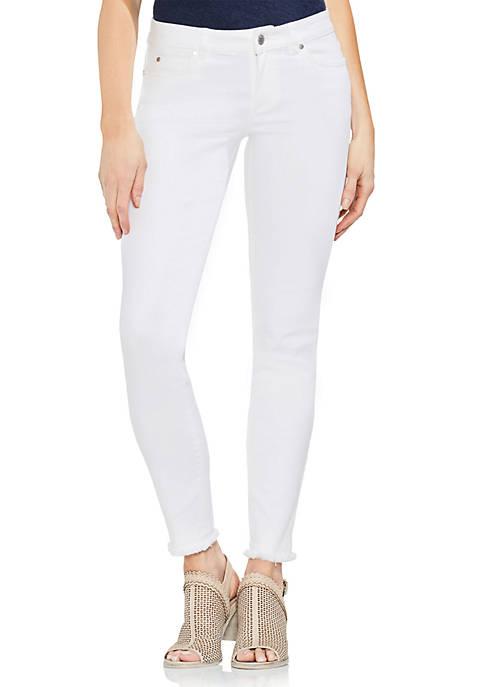 White 5-Pocket Ankle Hem Jeans