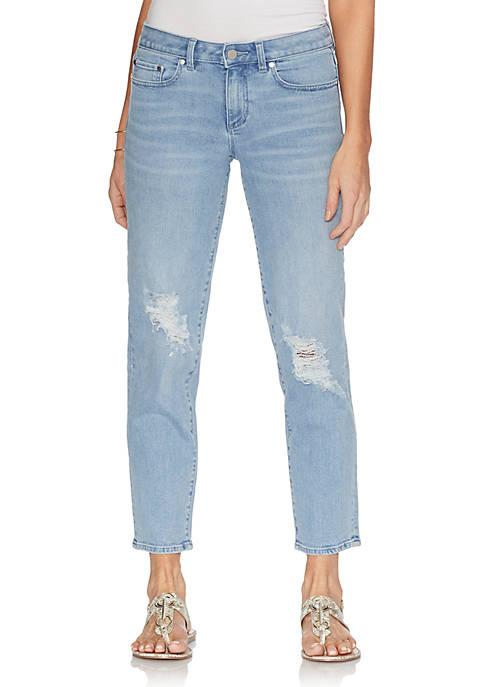 Destructed Crop Straight Jeans