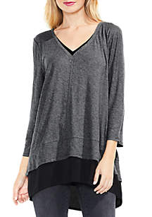 Double Layer Mix Media V-Neck Top