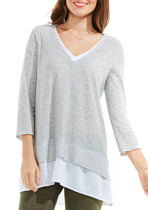 Vince Camuto Double Layer Mix Media V-Neck Top