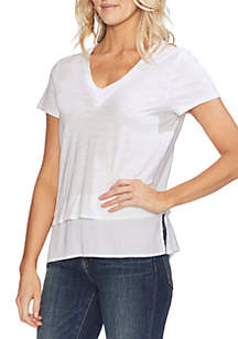 Vince Camuto Short Sleeve V Neck Layered Tee