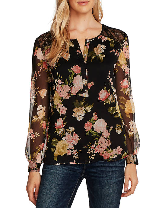 Womens Long Sleeve Floral Print Chiffon Blouse