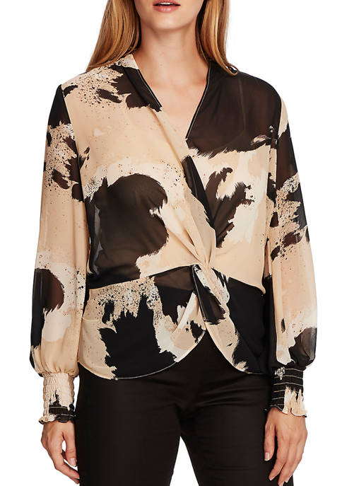 Womens Knot Front Cow Print Blouse