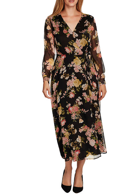 Womens Long Sleeve Floral Wrap Dress