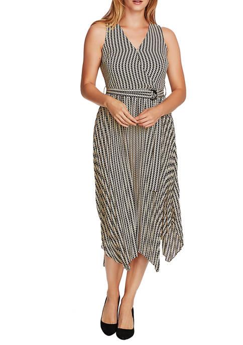 Womens Sleeveless Check Midi Dress with Sash