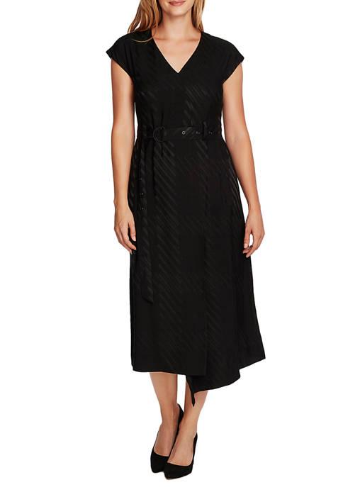 Womens Textured Midi Dress with Sash