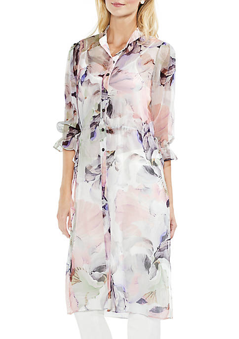 Vince Camuto Three-Quarter Sleeve Side Tie Bloom Long