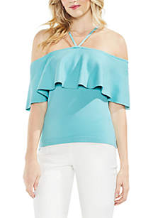 Ruffle Off The Shoulder Halter Sweater