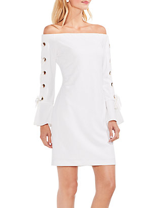 8c99a83ee3 Vince Camuto. Vince Camuto Lace Up Sleeve Off-the-Shoulder Crepe Ponte Dress