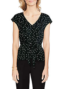 Vince Camuto Tie Front Polka Dot Blouse