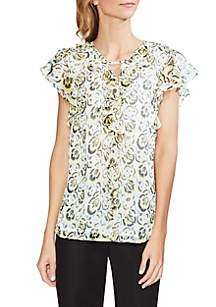 Vince Camuto Cluster Floral Ruffle Blouse