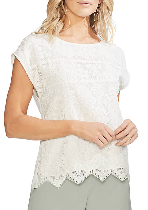 Vince Camuto Extend Shoulder Lace Blouse