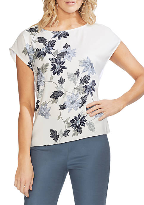 Placed Floral Cap Sleeve Top