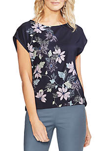 Vince Camuto Placed Floral Cap Sleeve Top