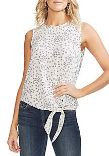 Vince Camuto Ditsy Tie Front Sleeveless Top