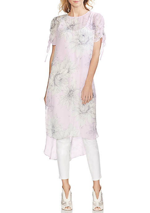 Ruched Sleeve High Low Floral Tunic