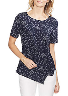 Vince Camuto Ditsy Side Gather Asymmetric Blouse