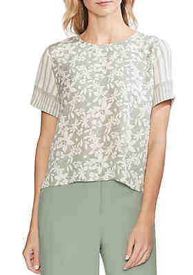 4cf0b9f28c3525 Vince Camuto Floral Stripe Mixed Print Blouse ...