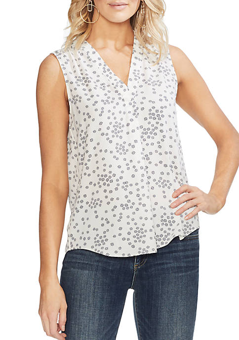 Vince Camuto Essential Ditsy V-Neck Rumple Blouse