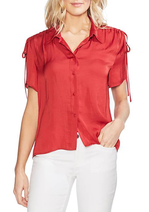 Vince Camuto Drawstring Shoulder Rumple Shirt
