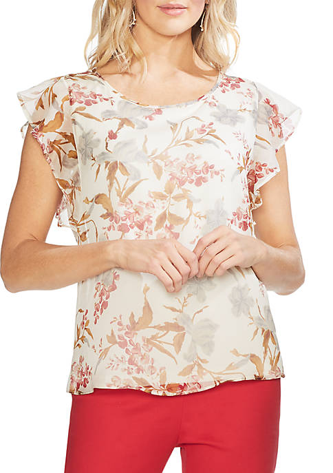 Ruffle Sleeve Floral Blouse