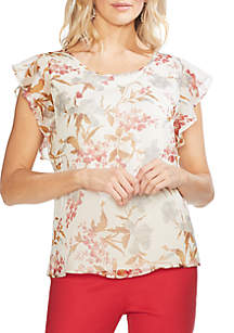 55afcee425bb ... Vince Camuto Ruffle Sleeve Floral Blouse